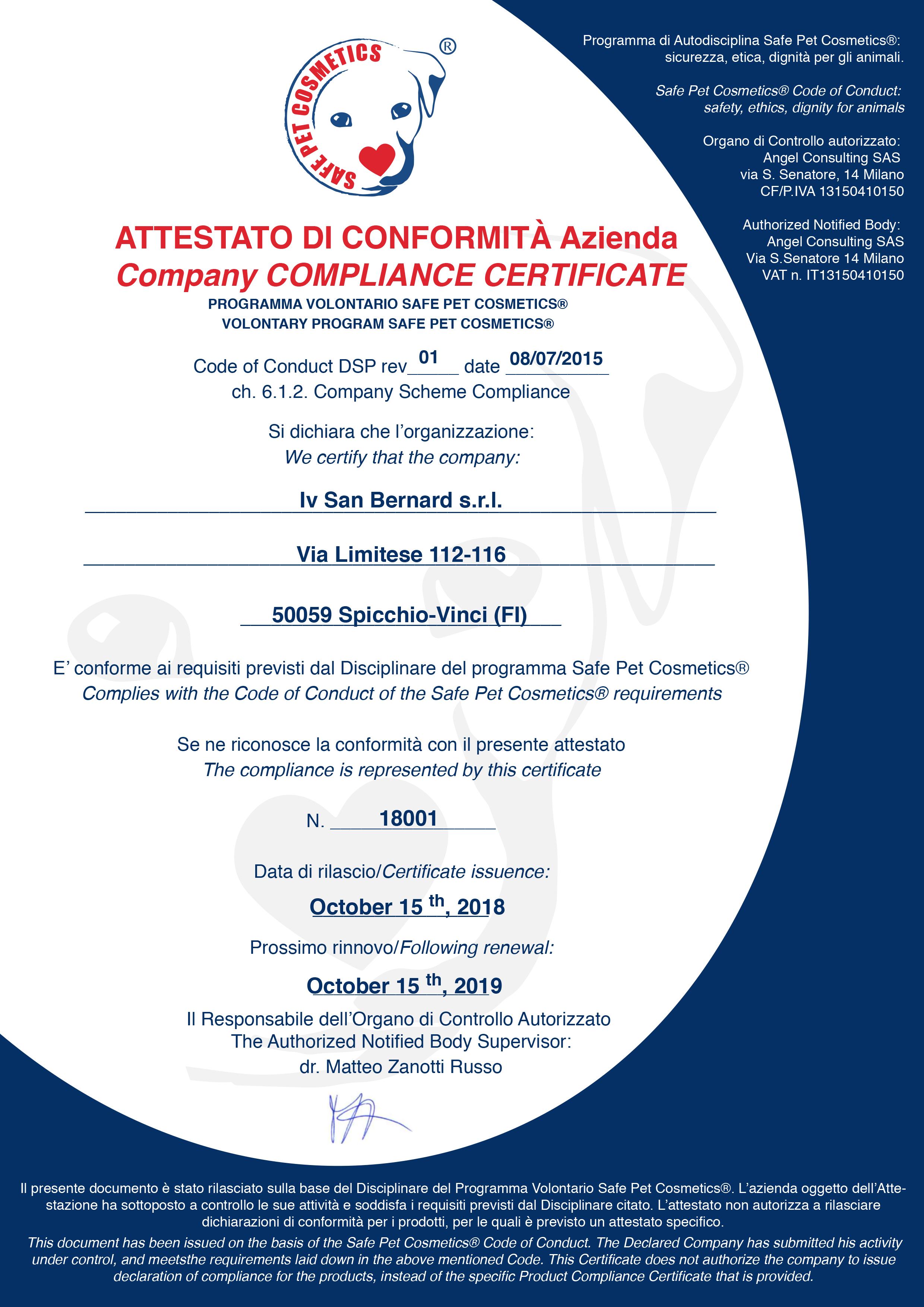 certificat pet safe cosmetics IV SAN BERNARD
